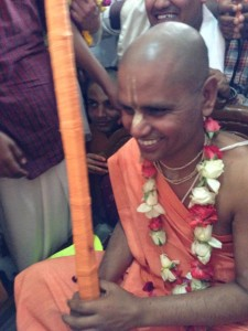 HH Bhakti Prema Swami accepting greetings after receiving his sanyasa diksha,