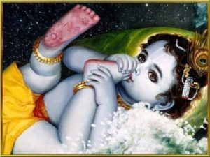 Krishna sucking his toes